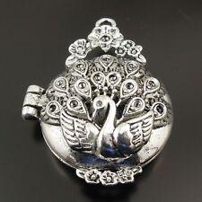 3 Stück Antike Stil Silber Legierung Blumen Pfau GansMedaillon Anhänger 31377