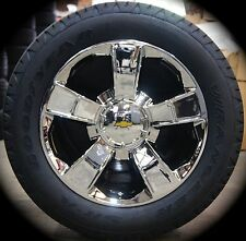 "4 New Chevy Silverado Tahoe Suburban Avalanche 20"" Chrome Wheels Rims Tires"