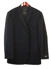 HUGO BOSS suit EINSTEIN 44R 44 R US 3 BUTTON Dark Blue + Stripes USA