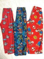 Boys Flannel Pajama Pants 3 Pair Mario/Thomas/Avengers Size 6/7