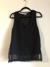 Kookai Black V-Neck Chiffon Top - SIZE 34 (XS/6)