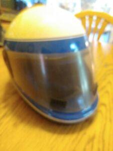 POLARIS Snowmobile Helmet Vintage Full face w/ Shield Blue & White