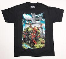 Licensed Marvel - Here Lies Deadpool - Men's Large Black T-Shirt Graphic Tee