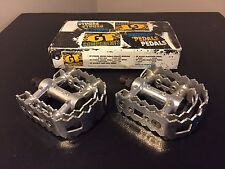 GT Power Series Sealed Bearing Vintage BMX Pro Pedals Nos Rare Silver