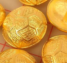 "6 Gold metal shank buttons abstract & geometric shapes design 1 1/8"" 30mm Large"