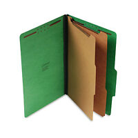 UNIVERSAL Pressboard Classification Folders Legal Six-Section Emerald Green 10