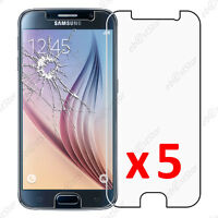 Lot 5 Film protection VERRE Trempé Vitre anti casse Samsung Galaxy S6 G920F