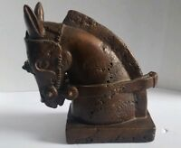 "Vintage Trojan Horse Head Sculpture Vintage Stone Look 11"" Tall"