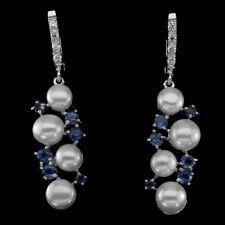 Ohrringe Perle Saphir blau & CZ 925 Silber 585 Weißgold