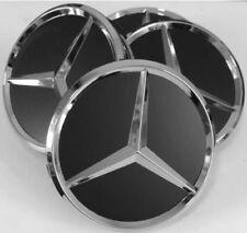 Mercedes-Benz 75mm 4xKIT Schwarz Matt Nabendeckel Mitte Emblem Nabenkappen