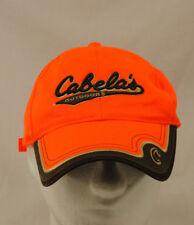 Cabelas Safety Orange Baseball Cap Hat One Size 3D Logo Embroidered