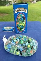 Marbles Tin Can 100 Colorful Fun Toys & Games In Net Bag