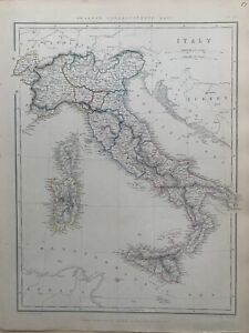 1847 ITALY LARGE HAND COLOURED MAP BY J.W LOWRY 173 YEARS OLD
