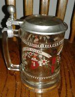 Vintage Glass German Beer Stein With Pewter Lid