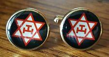 Royal Arch Star of David with Tau on black cuff links  Masonic