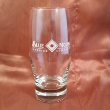 Blue Moon Brewing Company Beer Glass Rare Classic White Logo 16 Ounce 6.25 Inch