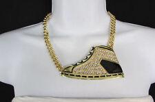 Sexy Women Gold Metal Chain Fashion Necklace Hip Hop Sneakers Shoe Bling Pendant