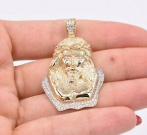 """1 3/4"""" Jesus Face Head CZ Cubic Zircon Pendant Real SOLID 10K Yellow Gold"""
