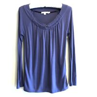 Boden US Size 4 Womens Long Sleeve Purple Shirt Top Pleated