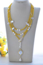 "Z11029 56"" Yellow Jade White Round Plum-blossom Edison Biwa Pearl Necklace CZ"