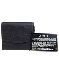 Auth CHANEL CC Long Bifold Wallet Purse Coin Case Caviar Skin Leather BK 09B546