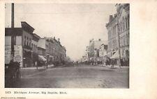 Big Rapids Michigan~Michigan Avenue Corner Grocery Store~Dirt Road~Wagons~1905