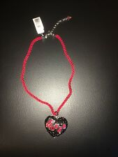 Guess Chain Rhodium Chain with Red textil Kordel Black Stones New Fashion Cute