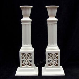 "Lenox China VERSAILLES 11"" Tall Gold Pierced Candlesticks Candle Holder 1st Qlty"