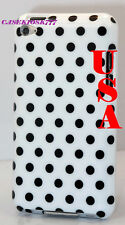 for iPod touch 4th 4 th 4gen itouch black and white polka dots hard back case