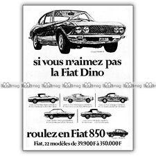 PUB FIAT DINO, 124, 2300 & 850 Coupé  - Original Advert / Publicité 1968