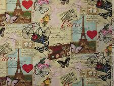 VINTAGE PARIS EIFFEL TOWER BIKE MAP POST MARK COTTON FABRIC BTHY