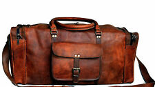 Luggage Duffel Gym Bag New Men's Brown Vintage Genuine Leather Goat hide Travel