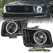[CCFL Halo] 2005-2009 Ford Mustang Black CCFL Halo Headlights 2006 2007 2008 Set