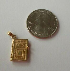 Rare 14K Gold Bible Pendant Charm Pages Open 14KT,  3.3 Grams