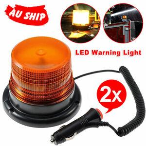 2X LED Strobe Flashing Lights Amber Beacon Rotating Emergency Warning Truck Lamp
