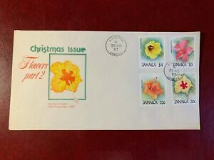 JAMAICA 1987 FDC FLOWERS PART 2 HIBISCUS
