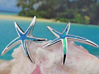SHINING STAR AMAZING 925 STERLING SILVER BLUE OPAL STARFISH POST EARRINGS