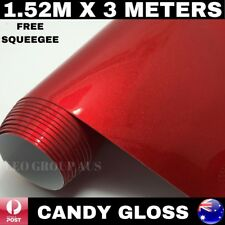 1.52M X 3M CANDY GLOSS RED METALLIC CHROME VINYL CAR WRAP FILM AIR BUBBLE FREE