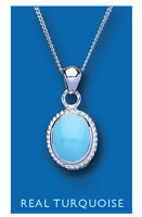 Turquoise Pendant Natural Turquoise Necklace Sterling Silver Pendant and Chain
