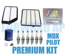 PREMIUM Acura MDX Honda Pilot Tune-Up Kit Air,Cabin,Oil NGK Platinum Spark Plugs