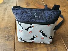 Cross body bag - Puffin print design with zipped outer pocket. Handmade.