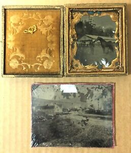 PH 14- Two Tin Types Taken Outside One With Horse in a Case and One with Barn