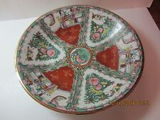 "Vintage Large Asian Rose Medallion Porcelain Bowl-14"" Across-Gold Accents"