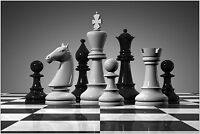 Giant Chess Board Pieces Black & White Large Maxi Poster Art Print 91x61 cm