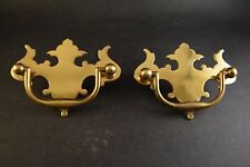 "Pair of Vintage Solid Brass Chippendale Pulls & Escutcheons 3 1/2"" by 2 1/2"""