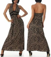 SeXy MiSS Damen Kleid lang Maxikleid Dress Leopard Tier braun Steine S 34/36 Neu