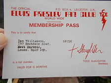 An Official Elvis Presley Fan Club World Wide Membership Pass Numbered G8726