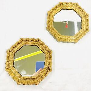 "Vintage Pair Gold Ornate Wall Mirrors Burwood Octagon 7"" Hollywood Regency MCM"