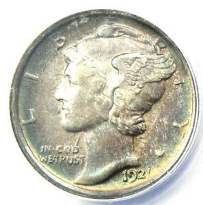 1921 Mercury Dime 10C - Certified ANACS AU55 - Rare Date - $1,060 Value!