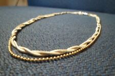 """Interesting Silver Tone 3 Strand Necklace 2 Woven Twisted 1 Beaded 18"""" Long (69)"""
